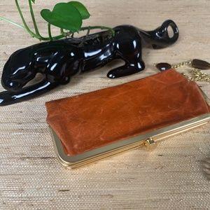 Tasche Weathered Orange Leather Frame Clutch